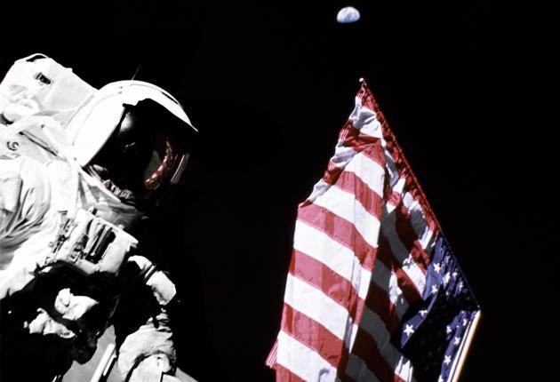 Crater good: an astronaut plants a US flag during the Apollo 17 mission in 1972, the most recent manned moon landing NASA
