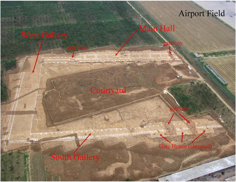 """Archaeologists call this building """"F1."""" It is the largest Bronze Age structure ever found in China. It would have been used as a palace-temple by the Shang kings. It was cleared out and torched, along with the rest of the complex."""