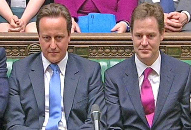 David Cameron and Nick Clegg sit side by side on the Government front bench yesterday as MPs gathered in the Commons for the first time since the election