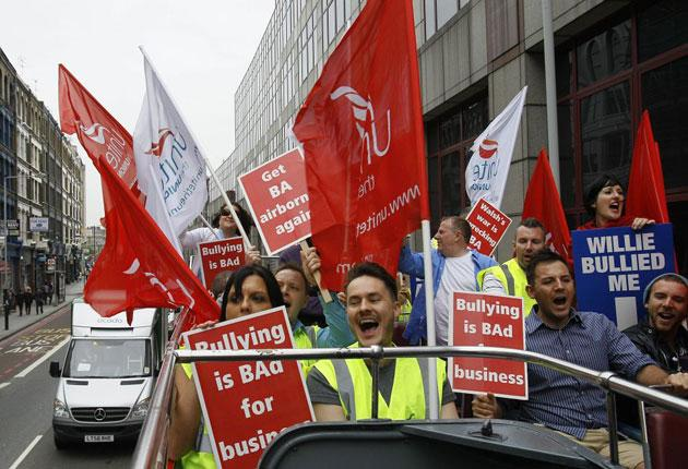 Unite members demonstrate in London