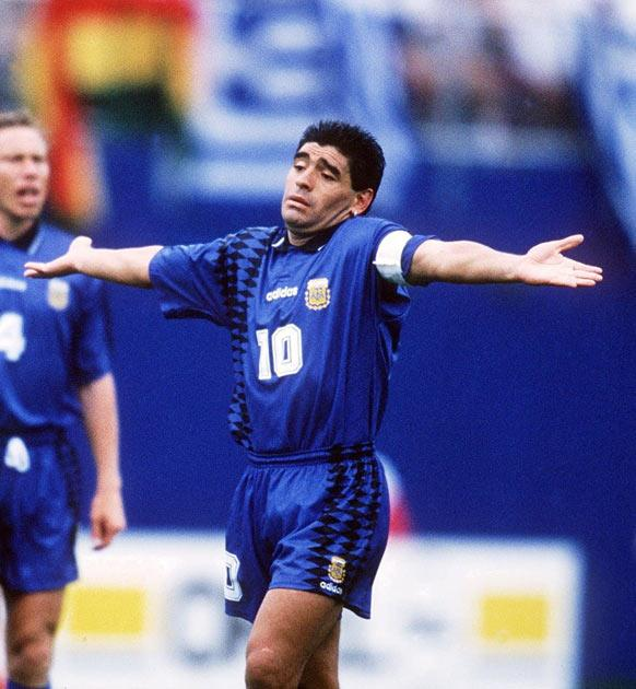 <b>21. Maradona sent home in disgrace</b><br/> At the age of 33 his star was fading, yet Diego Maradona still made a massive impact on the 1994 World Cup, even if it was for the wrong reasons. He only played in two games, before he was sent home from the