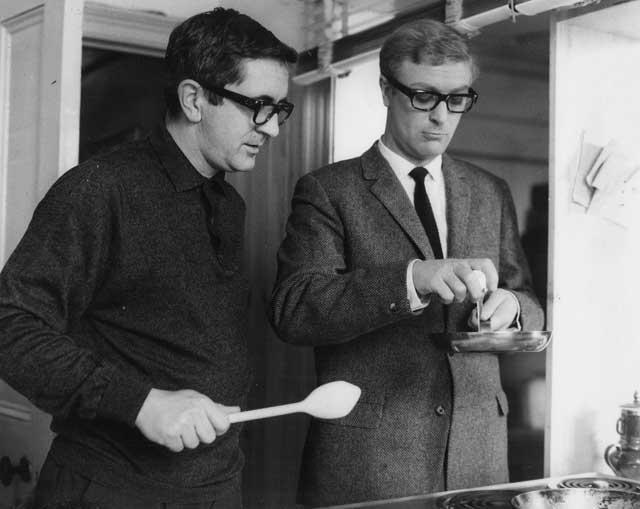 A crack partnership: Len Deighton and Michael Caine on set for the film adaptation of Deighton's The Ipcress File