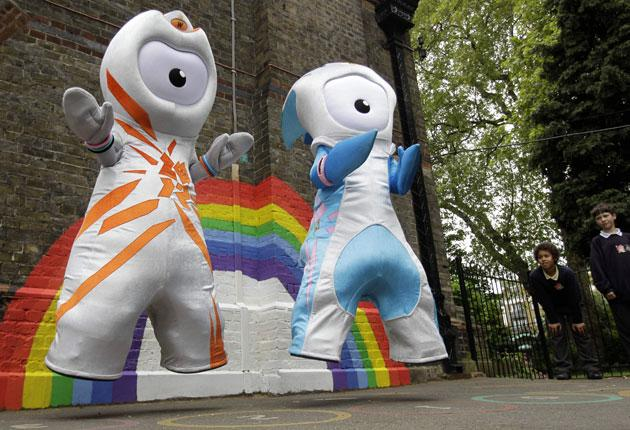 The London Olympic mascots get airborne at last week's launch with Wenlock (left) looking appropriately edgy and Mandeville doing its – his? her? – best to stoke up some enthusiasm in the target audience