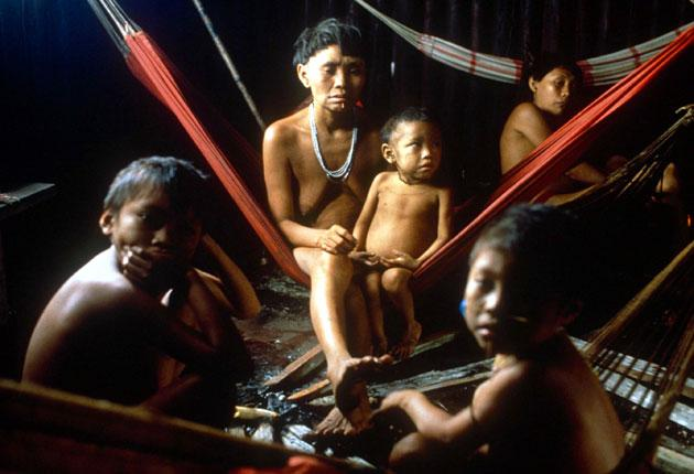 A family of Yanomami Indians in their natural habitat in Brazil