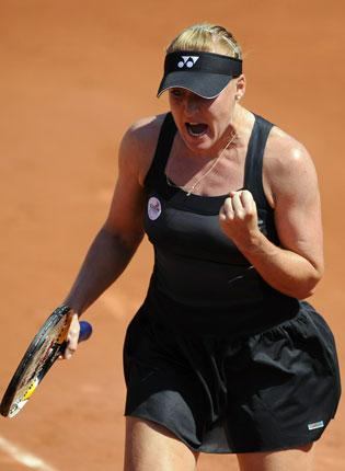 Elena Baltacha during her battling defeat at the French Open yesterday