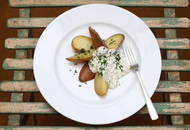 New potatoes with sauce vert