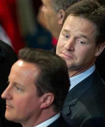 The big challenge for Nick Clegg, right, is to show the Liberal Democrats have made a difference