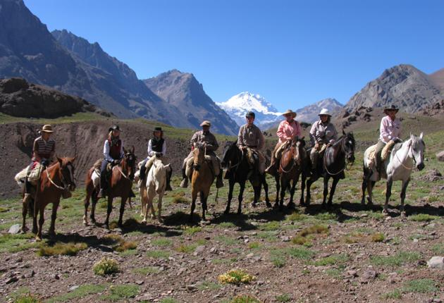 Gaucho club: Minty and her posse followed the trail from Mendoza to the Chilean border