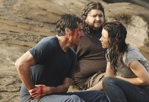Free at last: Actors, from left, Matthew Fox (Jack Shephard), Jorge Garcia (Hurley Reyes), and Evangeline Lilly (Kate Austen) took us on a six-year rollercoaster ride
