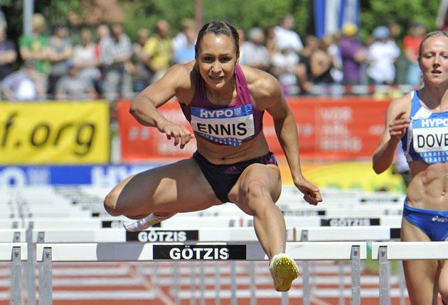Jessica Ennis finishes second in the 100m hurdles but is comfortably ahead in the overall points