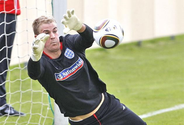 Joe Hart trains with the Jabulani ball to be used in South Africa