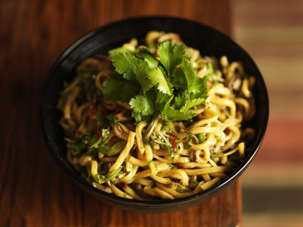 Egg noodles with shiitake, Chinese chives and ginger