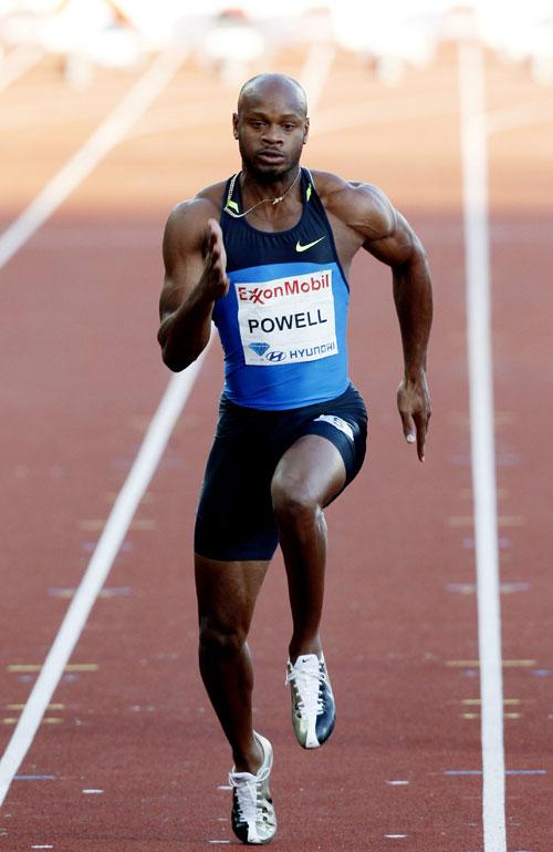 Asafa Powell strides away to victory in the 100m in Oslo last night