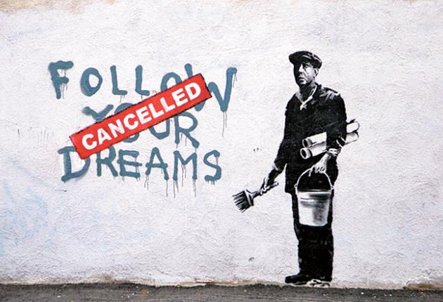 In the Chinatown district of Boston, one image shows a graffiti artist who has crossed out the words 'follow your dreams,' replacing them with the word 'cancelled' in red paint