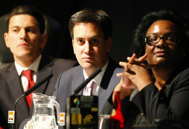 David Miliband, left, Ed Miliband and Diane Abbott at the GMB hustings yesterday