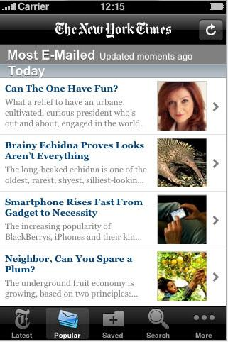 New York Times iPhone App. The newspaper's new iPad app is now available.