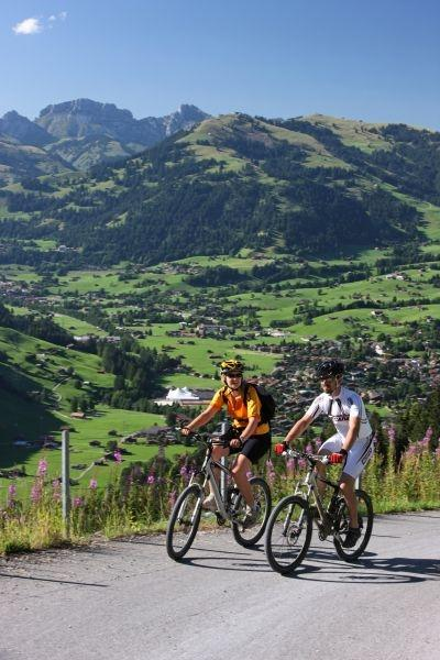 Cyclists take to the trails around the Swiss town of Gstaad