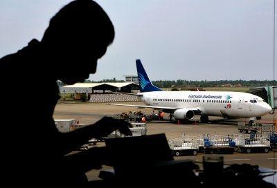 Garuda Indonesia flight at the Soekarno-Hatta International airport in Jakarta