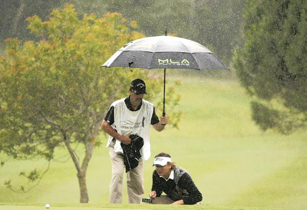 Henrik Nystrom of Sweden lines up a putt on the 17th hole during the first round of the Portuguese Open in Sintra