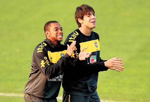 The Brazil of Robinho and Kaka, training in Johannesburg yesterday, are Andy Cole's favourites to win the trophy - having inflicted heart-breaking defeat on Fabio Capello's England at the semi-final stage