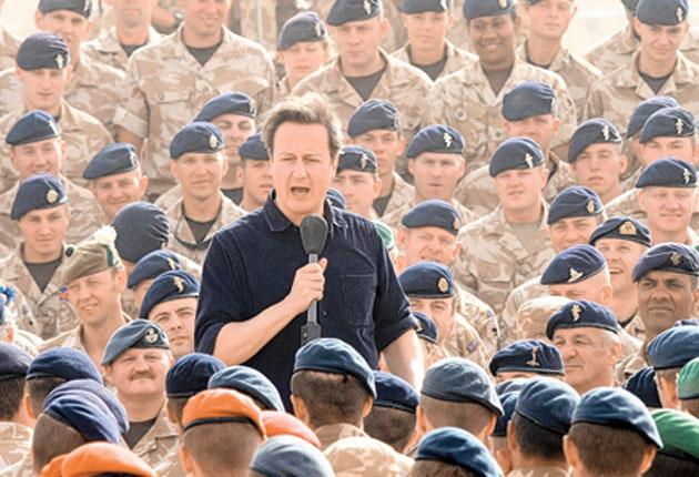 David Cameron at Camp Bastion in Helmand Province, Afghanistan, in 2010