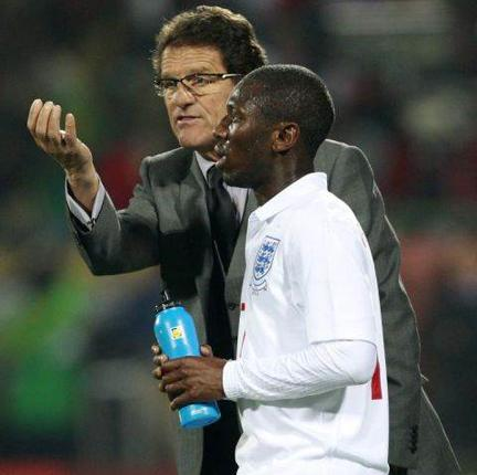 Capello giving instructions to Shaun Wright-Phillips