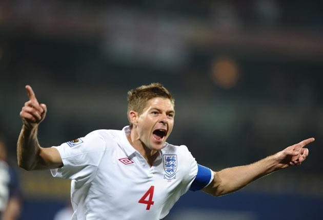 Gerrard celebrates his goal against USA