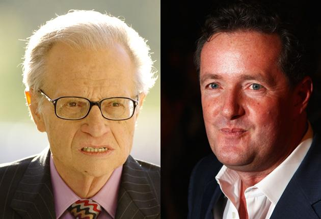 Piers Morgan, right, is reported to be in talks with CNN to replace Larry King