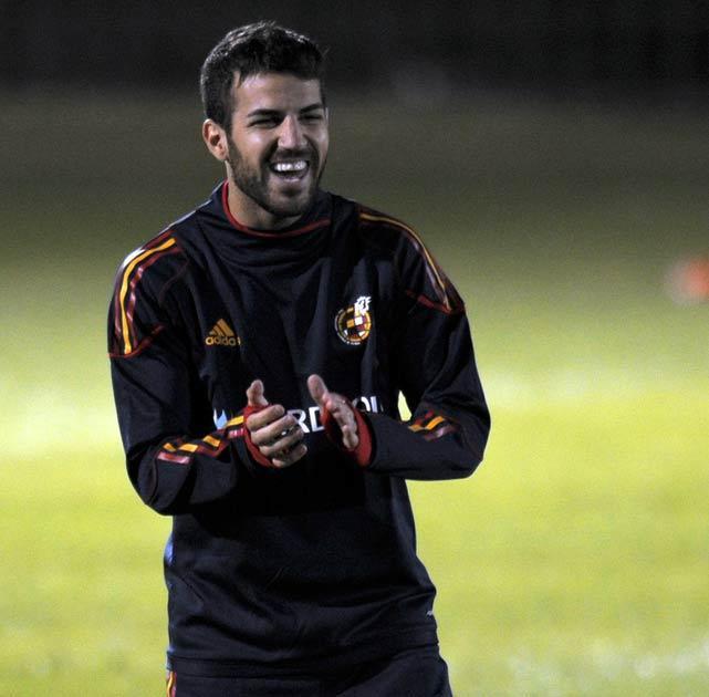 Fabregas pictured during Spain training