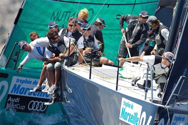 Multi-Olympic medallist Ben Ainslie in aggressive mood on the helm of British challenger Team Origin at the Audi MedCup off Marseille