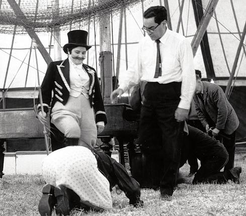 Strick on the set of 'Ulysses' in Dublin. Although it was made in 1967, the film was banned in Ireland until 2000