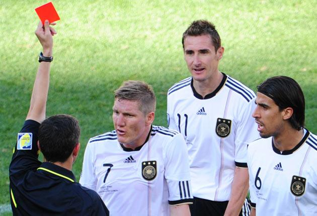 Klose was sent off in the first half