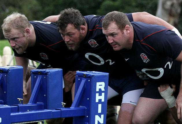 The England front row (L-R) Dan Cole, Steve Thompson and Tim Payne train for today's second Test against Australia