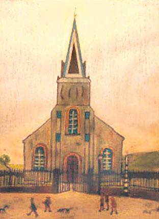 Wath Brow Mission Church near Cleator Moor, Cumbria, as painted in 1948 by L S Lowry