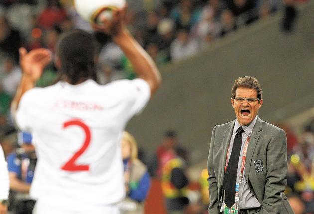 England coach Fabio Capello barks his orders as Glen Johnson prepares to take a throw-in during the 0-0 draw last night