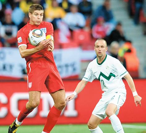 Steven Gerrard would be better used centrally, behind Wayne Rooney
