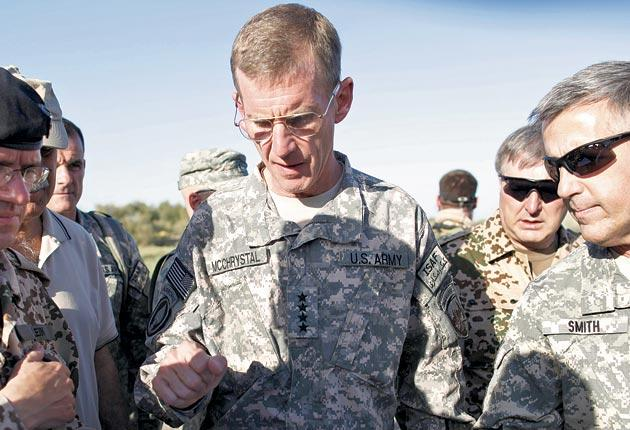 General Stanley McChrystal with Nato commanders outside Kunduz, Afghanistan, last September, during an investigation into civilian deaths in an allied attack