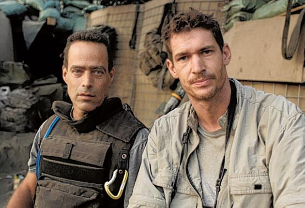 Directors Sebastian Junger and Tim Hetherington in the Korangal Valley during the filming of 'Restrepo'
