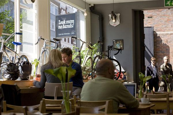 The decor at Look Mum No Hands! is what you might call 'cycle chic internationale'