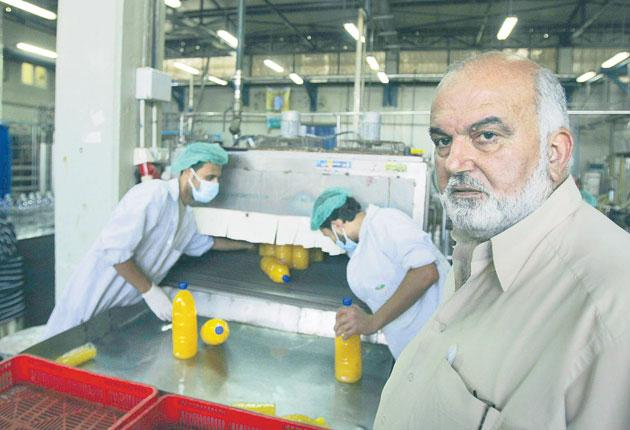 Salama al-Kishawi in the Gaza Juice Factory, Gaza City