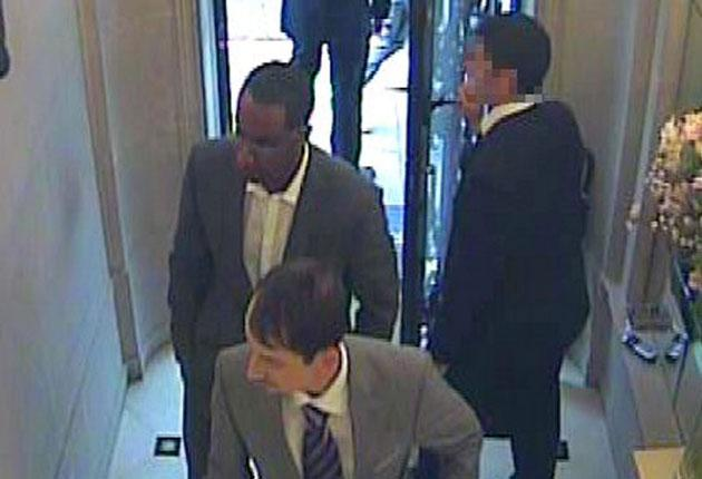 A CCTV image shows suspects entering Graff's
