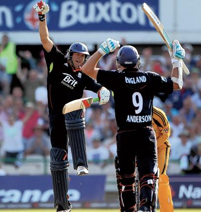England's Tim Bresnan and James Anderson celebrate their tense victory over Australia yesterday that sealed the series