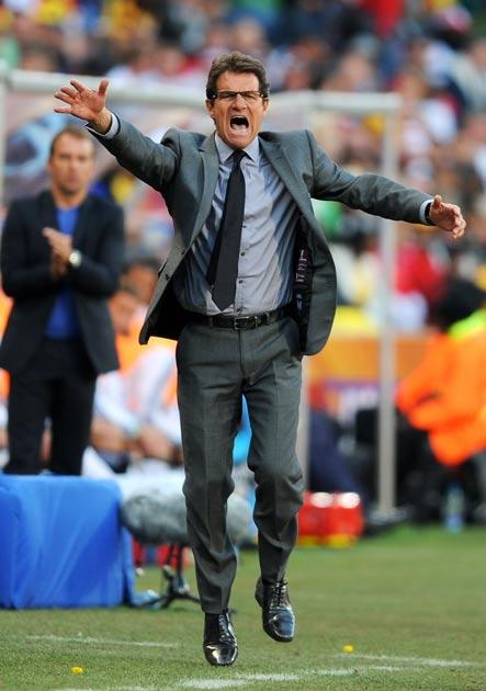 Capello gestures in the defeat to Germany