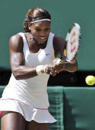 Serena Williams hits out during her 7-6, 6-4 victory yesterday