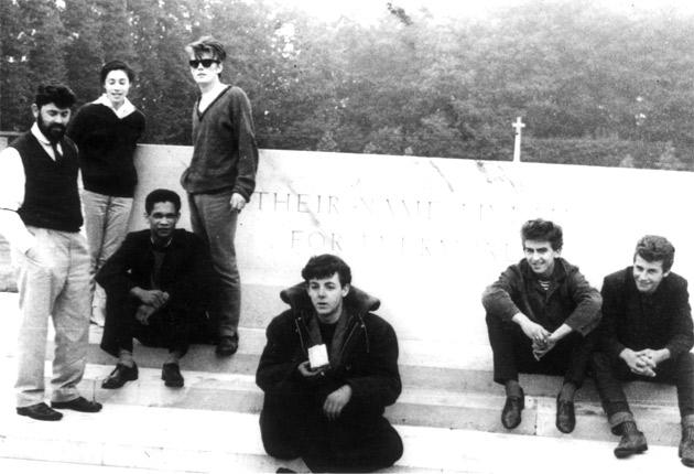 Faded memory: Lord Woodbine, third from left, at the Arnhem War Memorial with (left to right) Allan Williams and his wife, Beryl, Stuart Sutcliffe, Paul McCartney, George Harrison and Pete Best