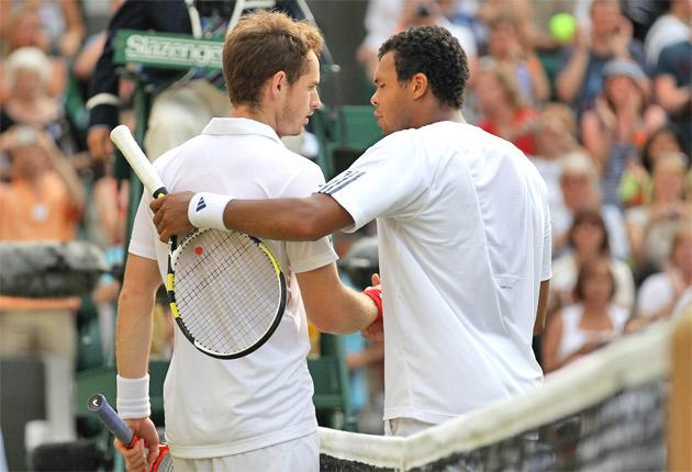 Andy Murray is congratulated by Jo-Wilfried Tsonga yesterday. The draw has been kind to the British No1