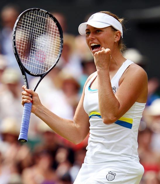 Zvonareva shows her delight after advancing to the final
