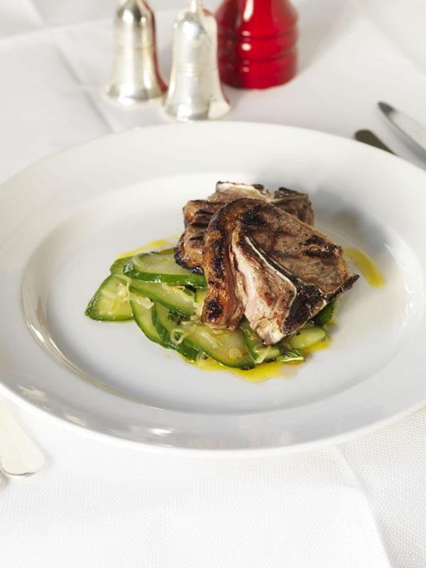 Lamb chops with cucumber and mint