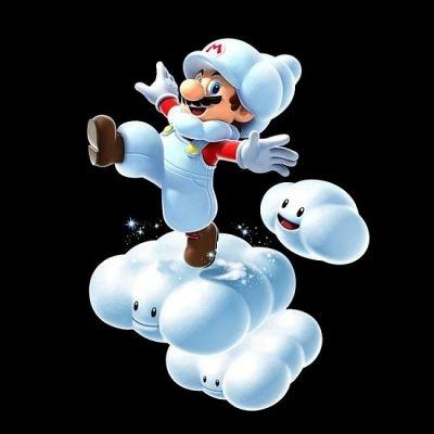 A graphic showing Mario's Cloud Suit from Super Mario Galaxy 2