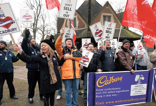 Cadbury workers protest against the Kraft takeover which resulted in 400 job losses